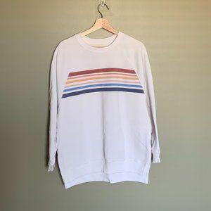 American Eagle white stripped sweatshirt size M